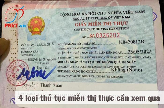 thủ tục xin miễn thị thực cho người nước ngoài