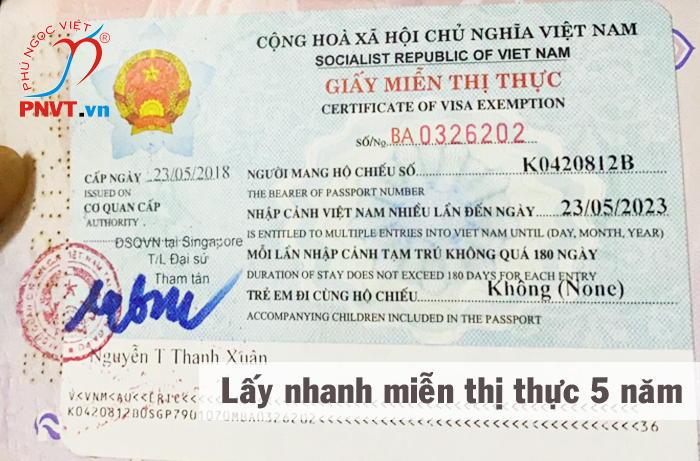 mẫu giấy miễn thị thực 5 năm