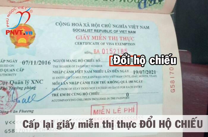 thủ tục xin cấp lại giấy miễn thị thực 5 năm do thay đổi số hộ chiếu