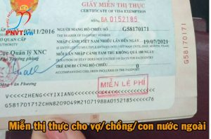 thủ tục xin miễn thị thực cho người nước ngoài là vợ, chồng, con của công dân việt nam