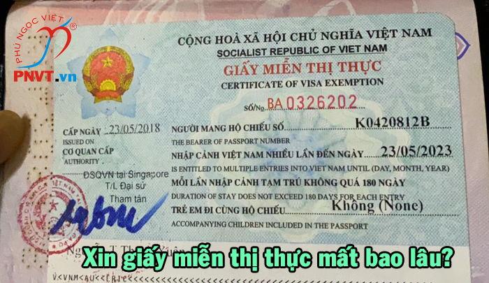 xin giấy miễn thị thực 5 năm mất bao lâu