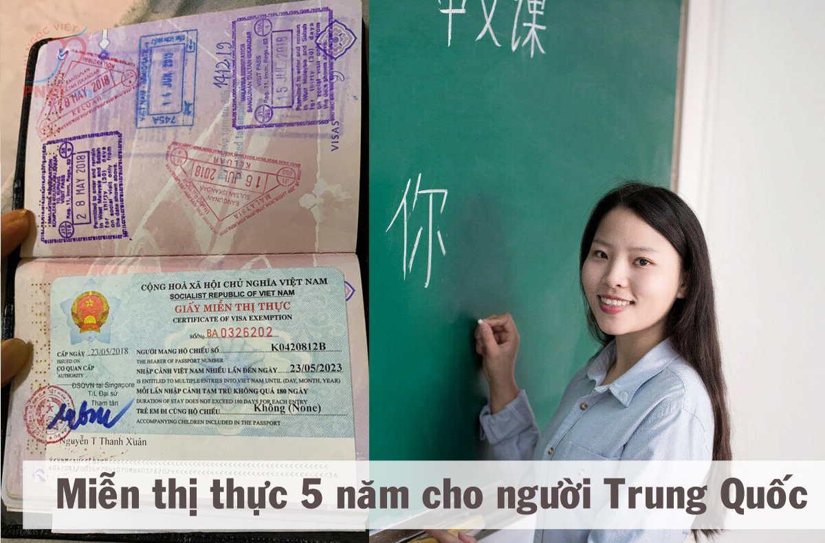 giấy miễn thị thực cho người Trung Quốc